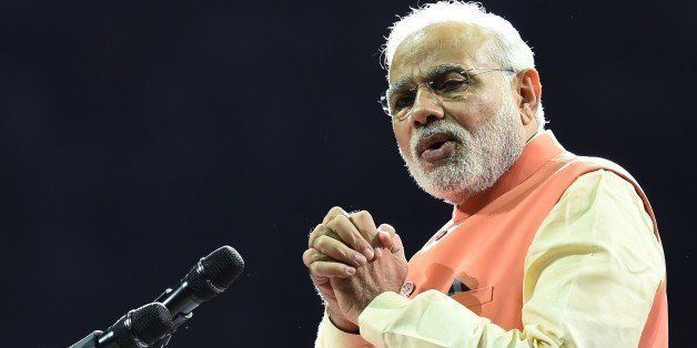 Prime Minister Narendra Modi of India speaks to supporters during a community reception September 28, 2014 at Madison Square