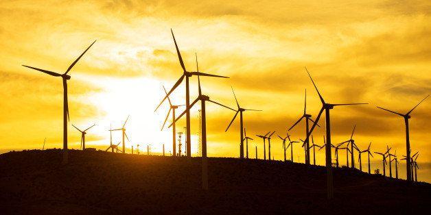 windmills, air turbines, sunset, palm springs, orange, renewable energy, green energy, green, wind power