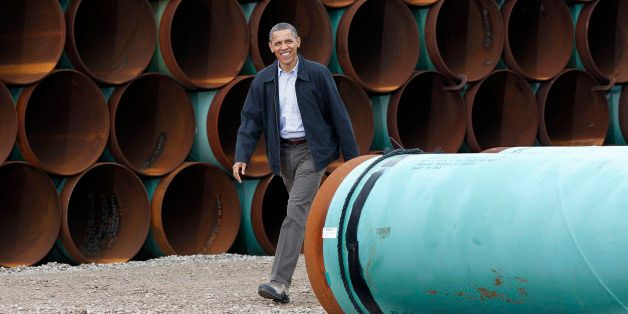 President Barack Obama arrives at the TransCanada Stillwater Pipe Yard in Cushing, Okla., Thursday, March, 22, 2012. (AP Phot