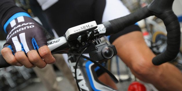 LEEDS, ENGLAND - JULY 05:  A small video camera is mounted under the handle bars of one of the riders to provide in race vide