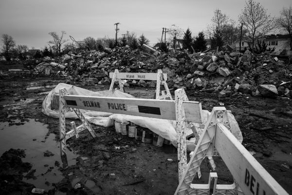 12/9/2012: Belmar, NJ: Police Barricades Block Entrance to Junk Yard.