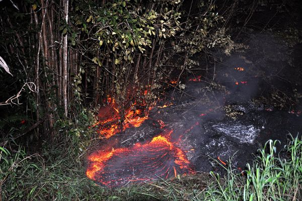 This Tuesday, Oct. 28, 2014 photo provided by the U.S. Geological Survey shows lava burning vegetation as it approaches a pro