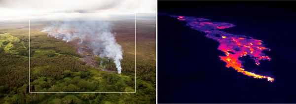 This pair of images released Oct. 22, 2014 by the U.S. Geological Survey shows a comparison of a normal photograph of the lav