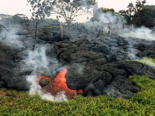 This Oct. 26, 2014 photo provided by the U.S. Geological Survey shows the lava flow front of from an eruption that began the