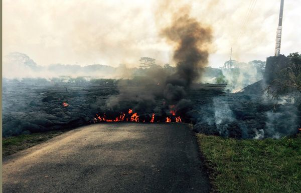 In this Oct. 24, 2014 photo from the U.S. Geological Survey, the lava flow from Kilauea Volcano that began June 27 is seen as