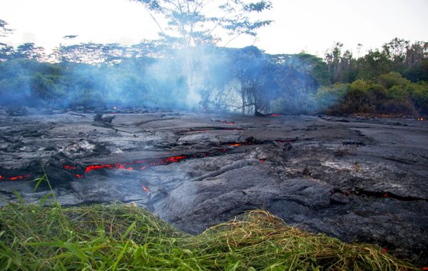 This Oct. 22, 2014 photo provided by the United States Geological Survey shows lava flow slowly moving through thick vegetati