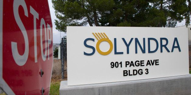 The Solyndra Inc. signage is displayed at the entrance to the headquarters in Fremont, California, U.S., on Monday, Dec. 12,