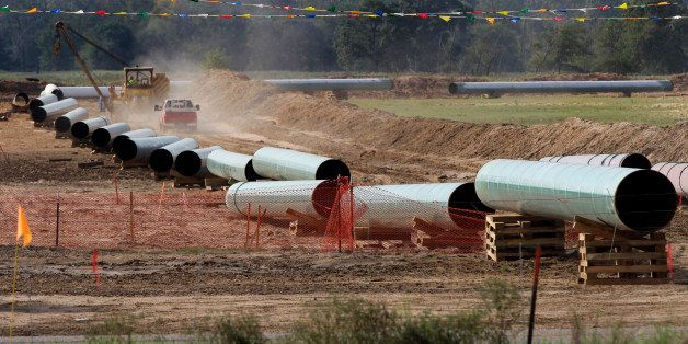 File - In this Oct. 4, 2012 file photo, large sections of pipe are shown in Sumner, Texas. Republicans are counting on a swif