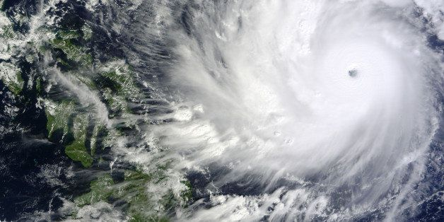 This image captured by the MODIS instrument aboard NASA's Terra satellite shows Typhoon Hagupit on Thursday, Dec. 4, 2014, at