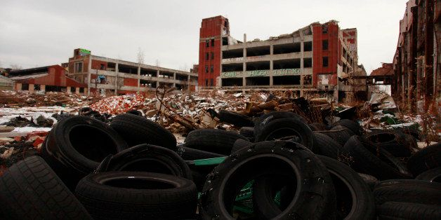 DETROIT, MI- DECEMBER 13:  Old tires rest near the abandoned Packard Automotive Plant December 13, 2013 in Detroit, Michigan.