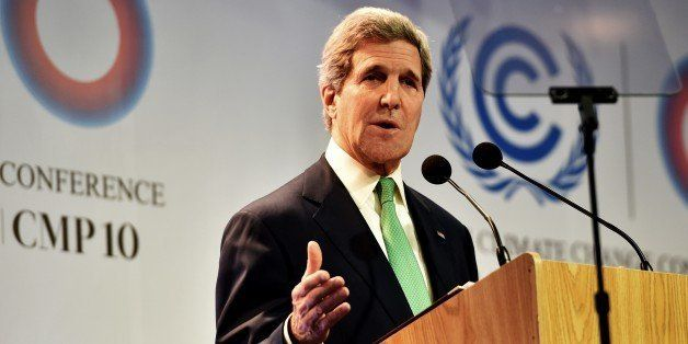 US Secretary of State John Kerry delivers a speech in Lima on December 11, 2014, during the UN 20th session of the Conference