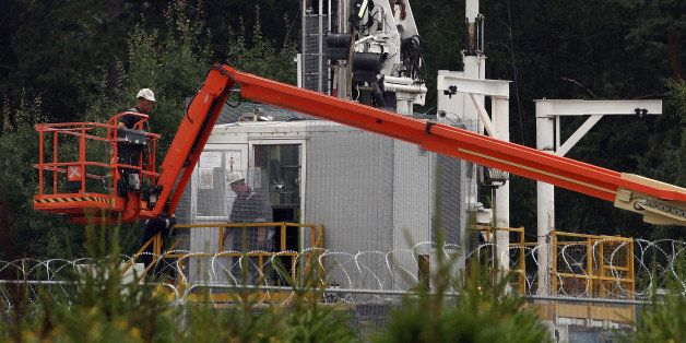 BALCOMBE, UNITED KINGDOM - AUGUST 17:  A general view of the drill site operated by Cuadrilla Resources Ltd on August 17, 201