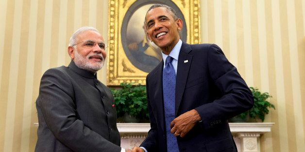 President Barack Obama shakes hands with Indian Prime Minister Narendra Modi, Tuesday, Sept. 30, 2014, in the Oval Office  o
