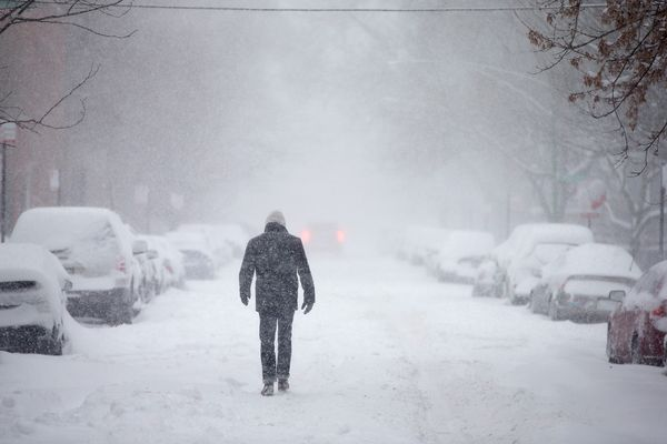 A man walks down a snow-covered street on February 1, 2015 in Chicago, Illinois. (Photo by Scott Olson/Getty Images)