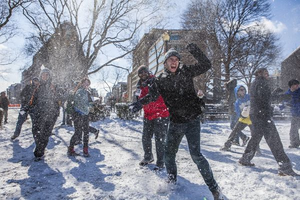 The outside force attempts to assault the inner fountain as hundreds of people gather for a massive snowball fight at Dupont