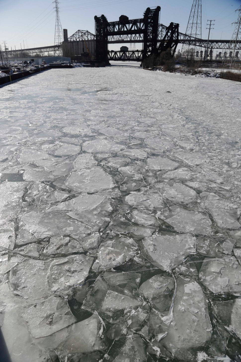 Ice fills the Calumet River Thursday, Feb. 19, 2015, in Chicago.