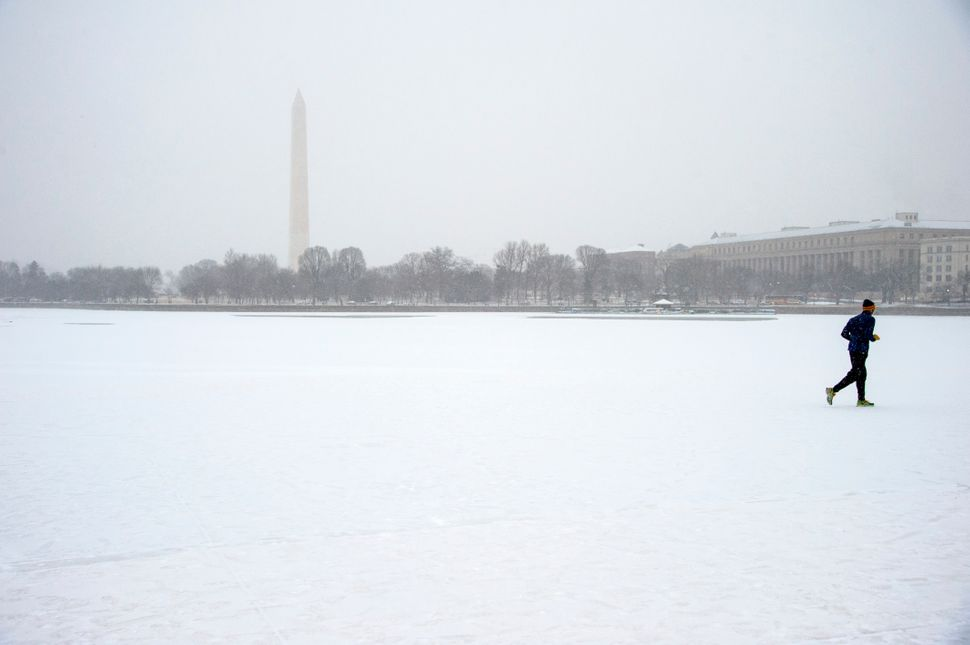 A jogger runs past the frozen Tidal Basin as a light snow falls on President's Day February, 16, 2015 in Washington, DC.
