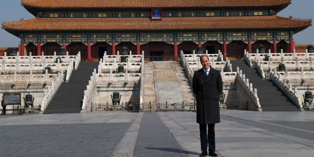 Britain's Prince William faces the media during a visit to the Forbidden City in Beijing, China, Monday, March 2, 2015. Willi