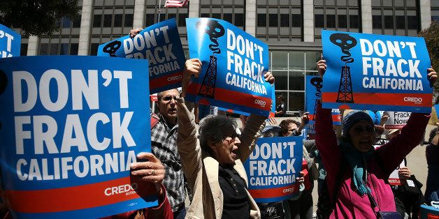 SAN FRANCISCO, CA - MAY 30:  Protestors stage a demonstration against fracking in California outside of the Hiram W. Johnson