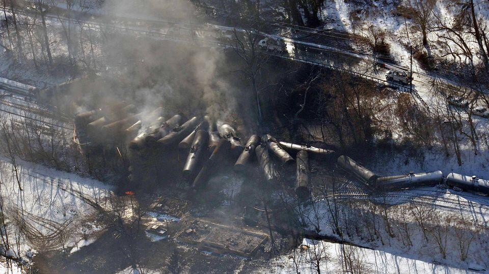 This Feb. 17, 2015 aerial photo made available by the Office of the Governor of West Virginia shows a derailed train in Mount