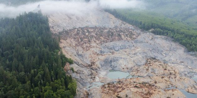 Aerial views of the Oso mudslide on Highway 530.