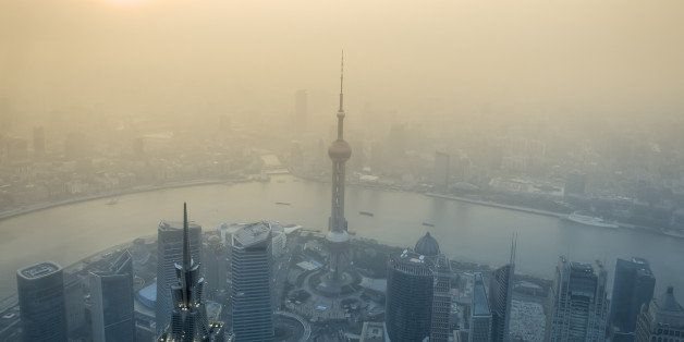 Air pollution at sunset on Shanghai, China