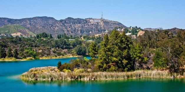 LOS ANGELES, CA - JULY 22: A view of the HOLLYWOOD Sign from Lake Hollywood Reservoir on July 22, 2014 in Los Angeles, Califo