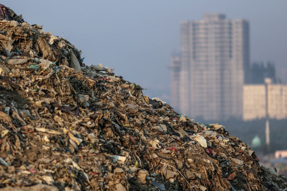 Garbage sits at the Deonar landfill site in Mumbai, India, on Wednesday, March 11, 2015.