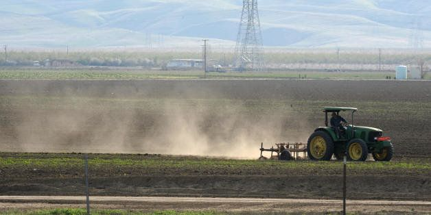 TO GO WITH AFP STORY by TANGI QUEMENER Dust rises as a farmer plows a field in Mendota, California in the state's San Joaquin