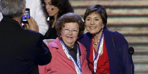 Sen. Barbara Mikulski, D-Md., left, and Sen. Barbara Boxer, D-Calif., right, pause for a souvenir photo as they preview the s
