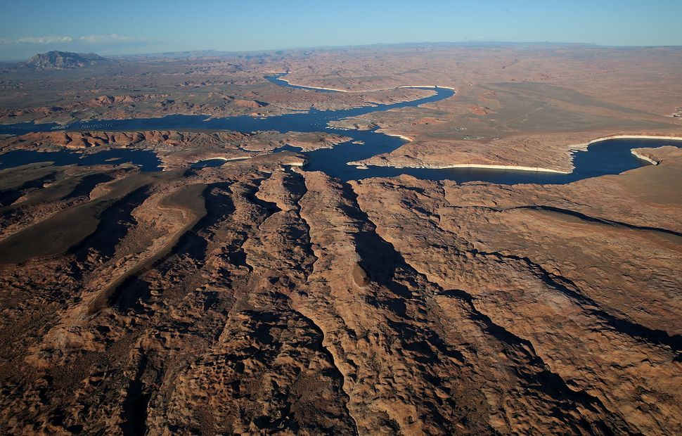 A view of low water levels at Lake Powell on March 28, 2015 in Lake Powell, Utah.