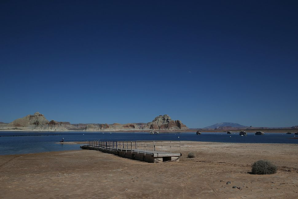 A boat dock sits on the beach of Lake Powell at the Wahweap Marina on March 28, 2015 in Page, Arizona.
