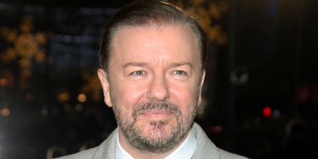 FILE - In this Dec. 15, 2014 file photo, actor Ricky Gervais poses for photographers upon arrival for the premiere of the fil
