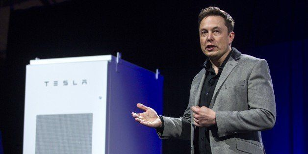 Elon Musk, CEO of Tesla Motors Inc., unveils the company's newest product Powerpack in Hawthorne, Calif., Thursday, April 30,