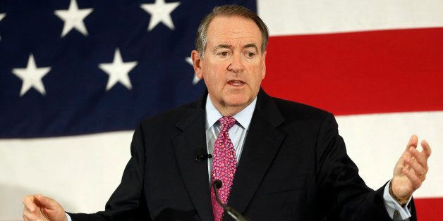 FILE - In this April 18, 2015 file photo, former Arkansas Republican Gov. Mike Huckabee speaks at the Republican Leadership S
