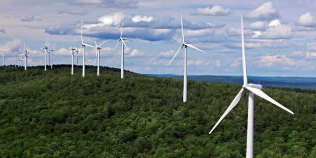 FILE- In this file photo made July 14, 2009, wind turbines line a ridge on Stetson Mountain in Stetson, Maine. The state beca