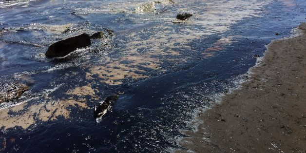 This photo provided by the Santa Barbara County Fire Department shows an oil slick from a broken pipeline off the central Cal
