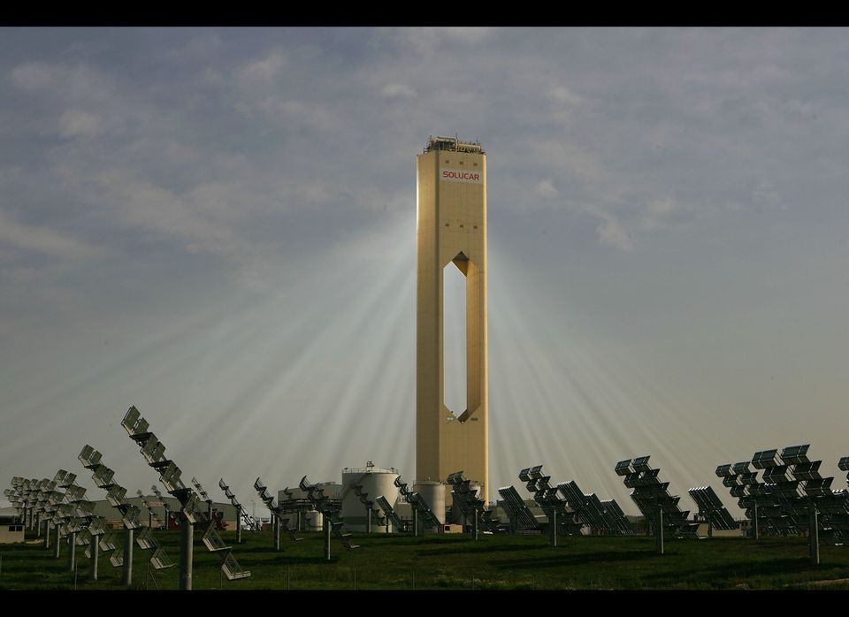 The monolithic Solar Power Tower in Sanlúcar la Mayor near Seville was designed to prevent the emission of more than 600,000