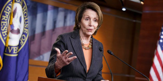 House Minority Leader Nancy Pelosi of Calif. gestures during a news conference on Capitol Hill in Washington, Friday, Feb. 27