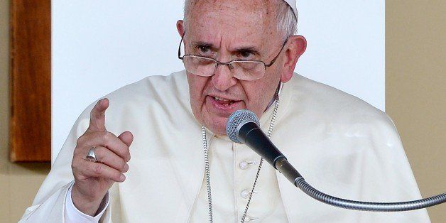 Pope Francis gestures as he speaks during a meeting with the youth on Piazza Vittorio in Turin on June 21, 2015. The pontiff