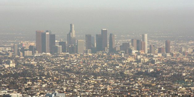 Downtown Los Angeles is visible through a light layer of smog from Mount Lee in Los Angeles, Calif., March 18, 2008. (AP Phot