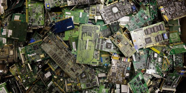 In this Aug. 27, 2009 photo, circuit boards fill a bin at a recycling center in Indianapolis, at Workforce Inc., a nonprofit