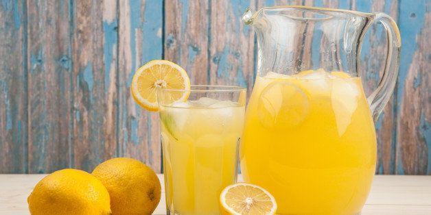 Fresh lemonade in the jug