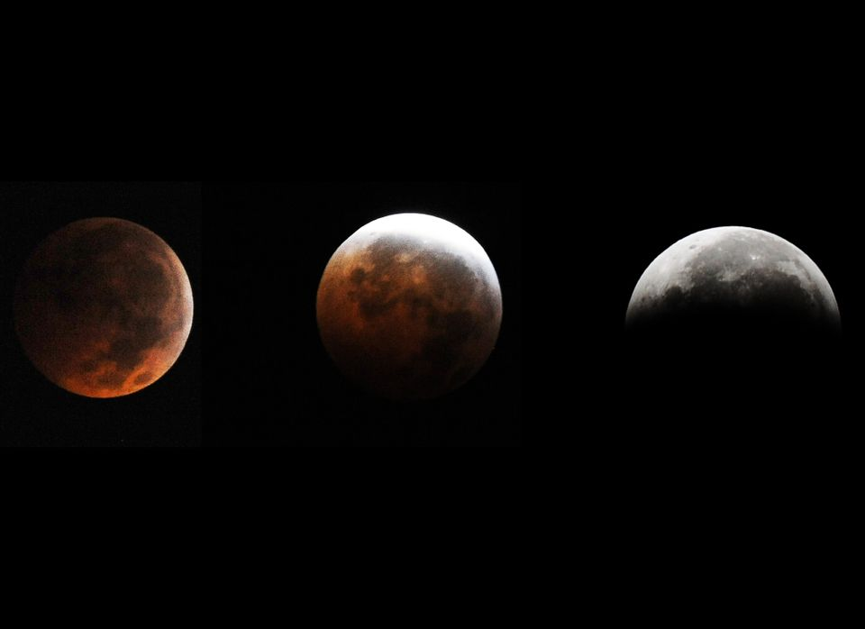 This combination of pictures shows the moon during a circle of a total eclipse as seen from Silver Spring, Maryland, on Decem