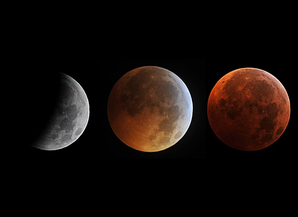 This combo of pictures taken in Manassas, Virginia shows the moon in different stages of a total lunar eclipse on December, 2