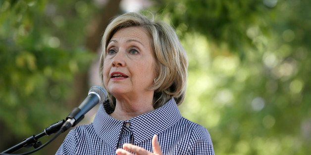 Democratic presidential candidate Hillary Rodham Clinton speaks during a news conference during a visit to the Iowa State Fai