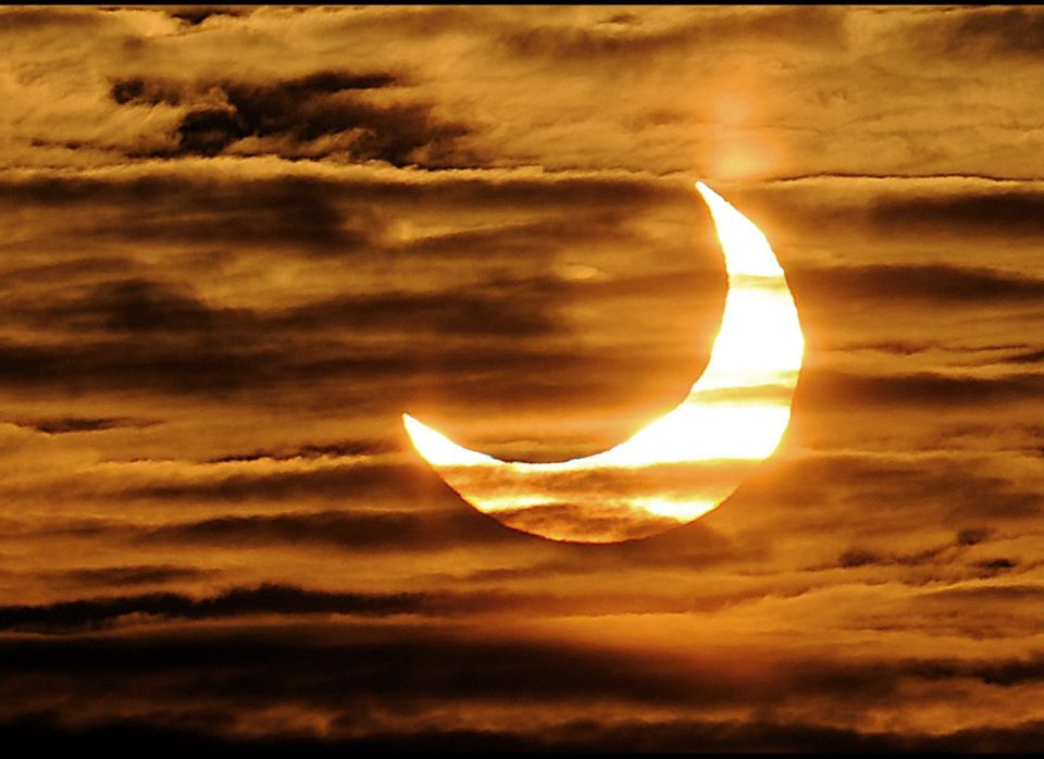 A picture taken on January 04, 2011 in Locon, northern France, shows the world's first partial solar eclipse of 2011. A solar
