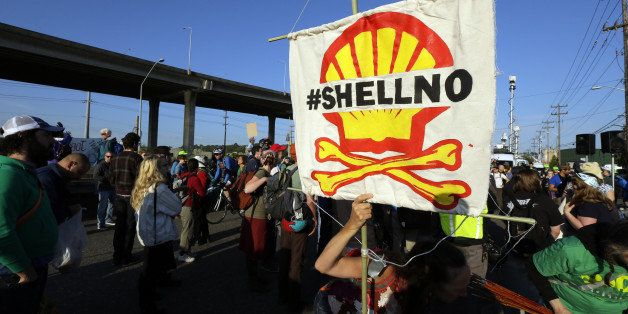 Protesters rally at the Port of Seattle, Monday, May 18, 2015, in Seattle. Demonstrators opposed to Arctic oil drilling were