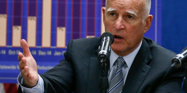 California Gov. Jerry Brown talks about the drought and water restrictions following a meeting with San Diego County official