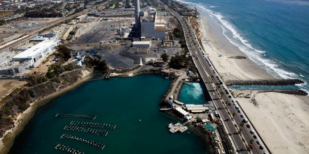 The Carlsbad Desalination plant stands under construction in this aerial photograph taken over Carlsbad, California, U.S., on